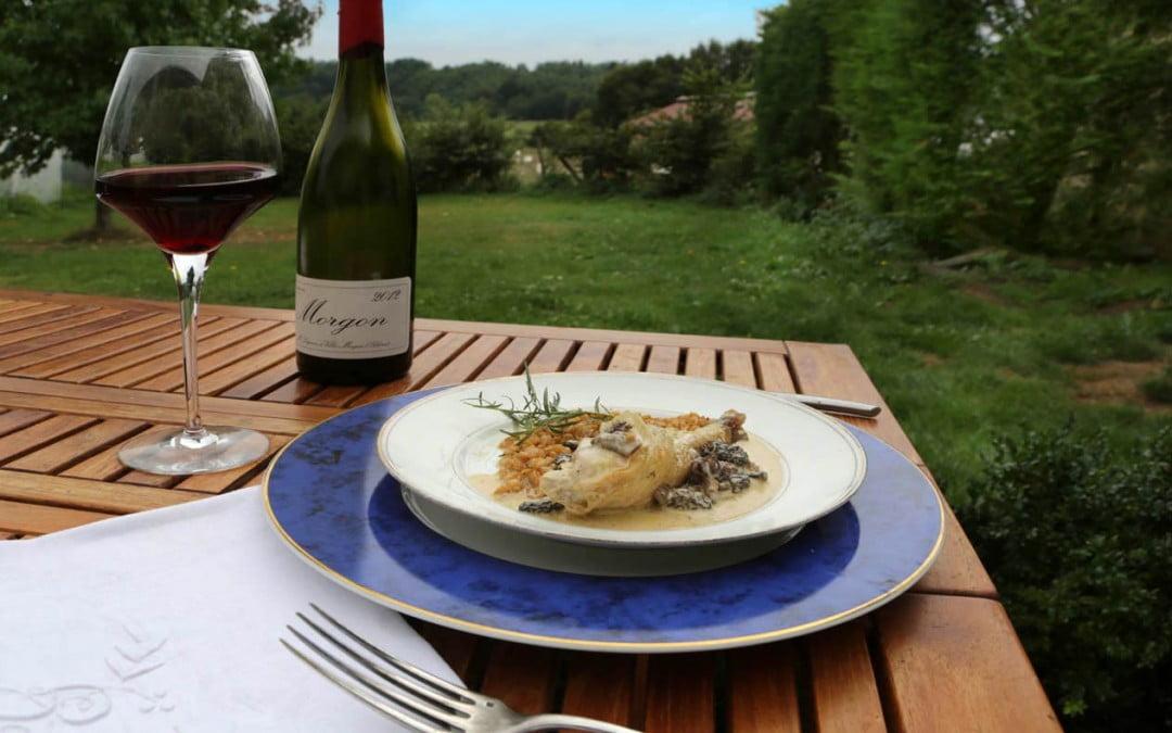 Poulet de bresse au vin jaune et aux morilles